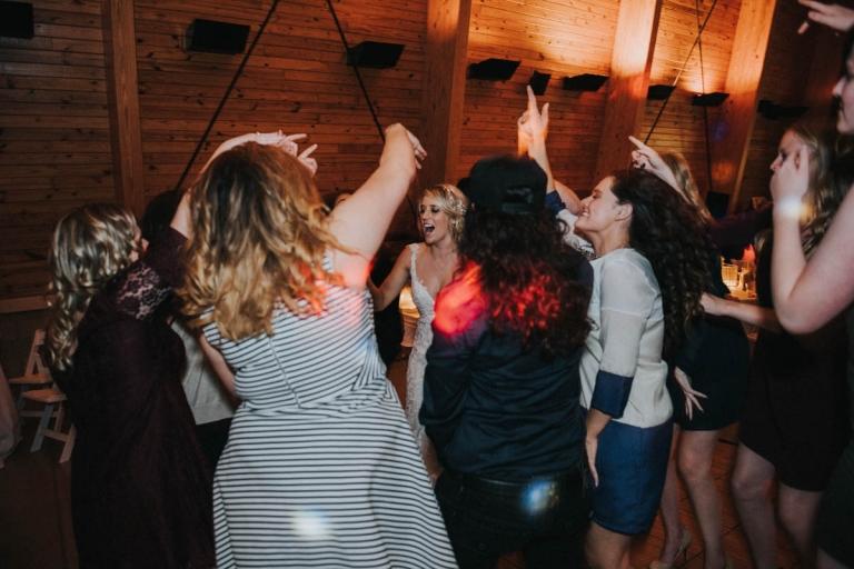 Dancing fun at wedding reception