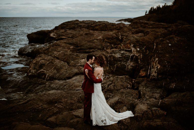Black rocks elopement on Presque Isle in Michigan