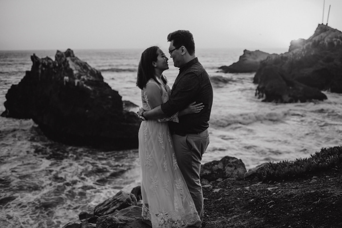 Couple eloping on the beach in California