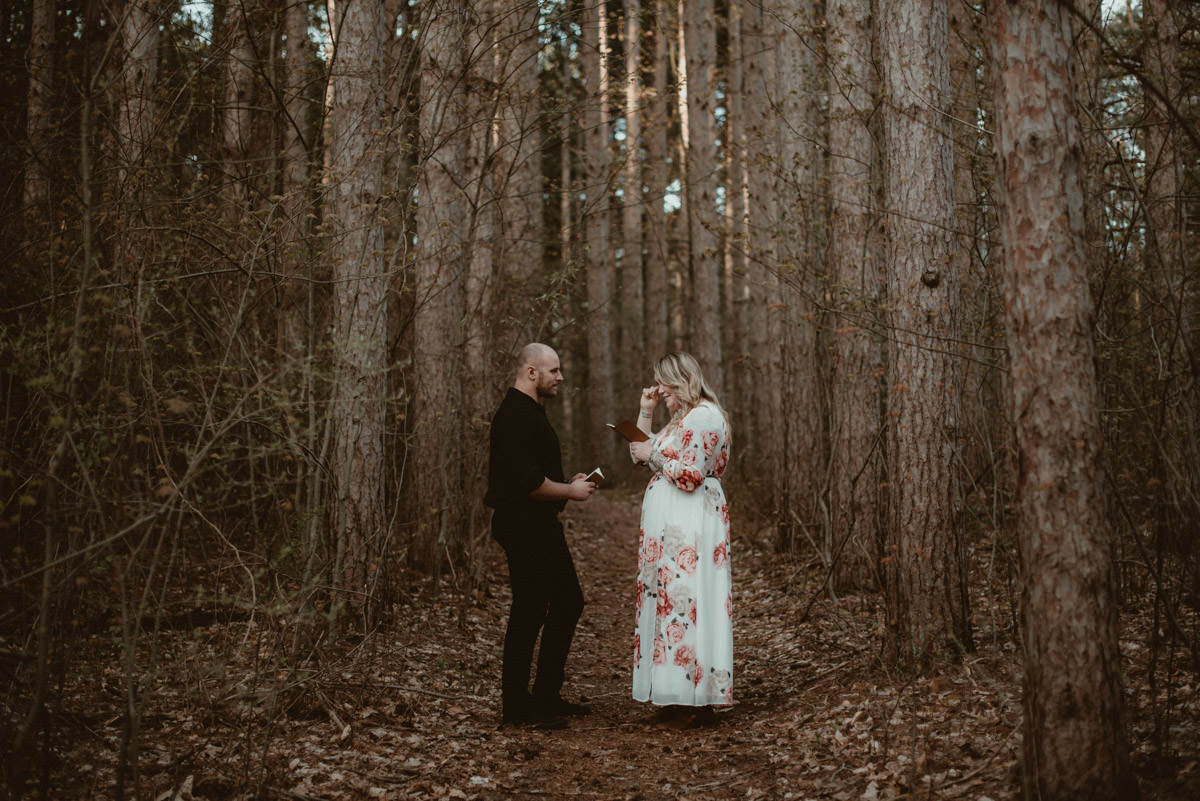Wide view of couple eloping in the woods in Michigan.
