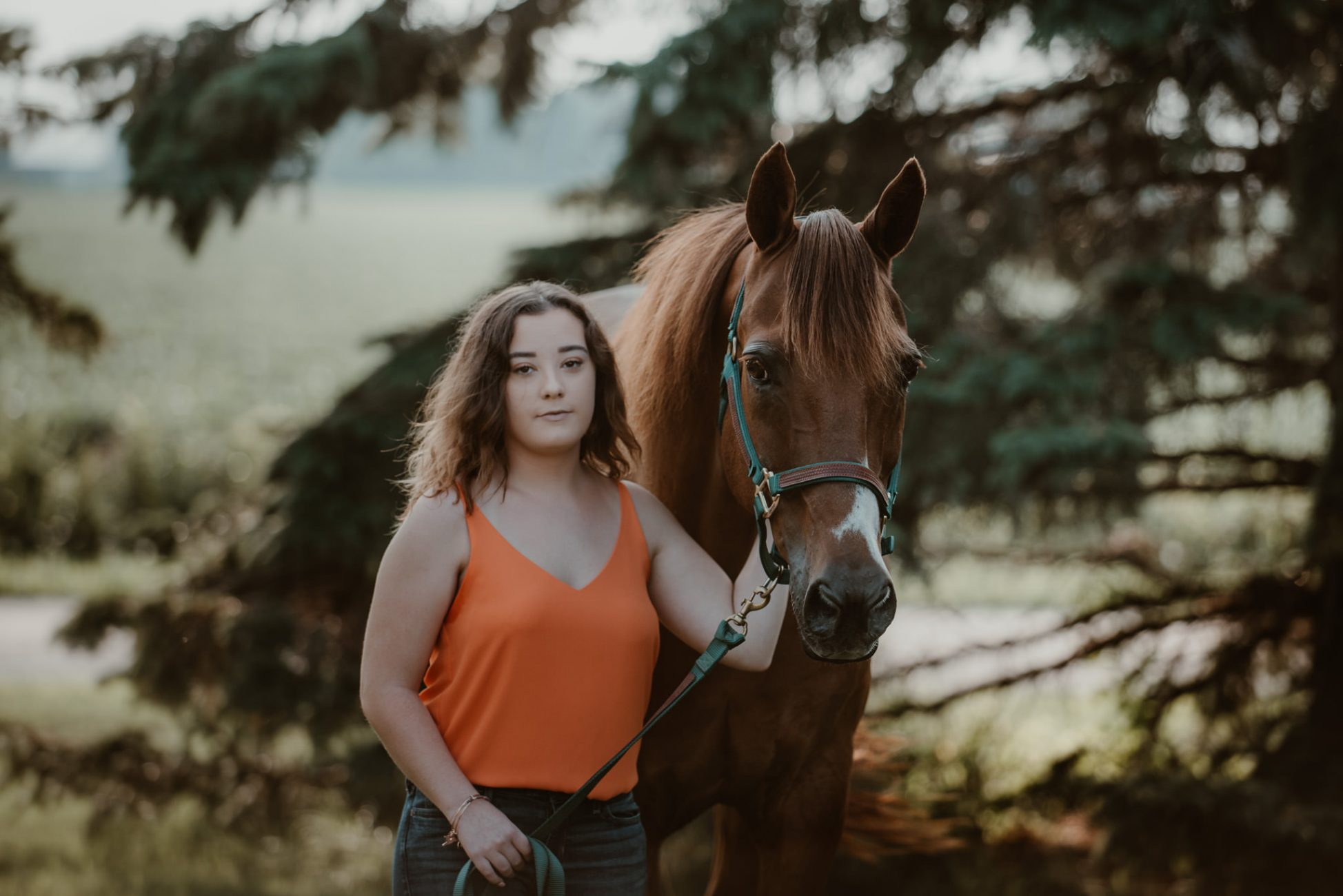 Senior girl with horse.