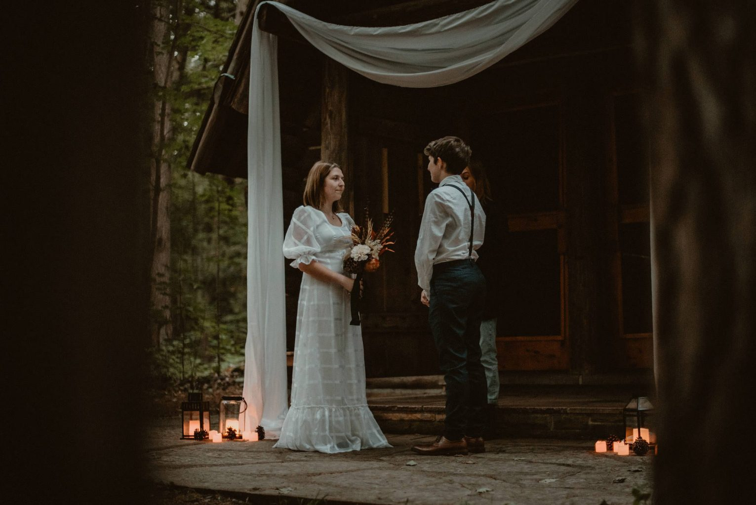 Rustic elopement in the woods at Hartwick Pines.