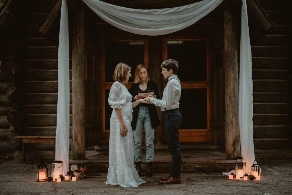 Wedding ceremony at Hartwick Pines.