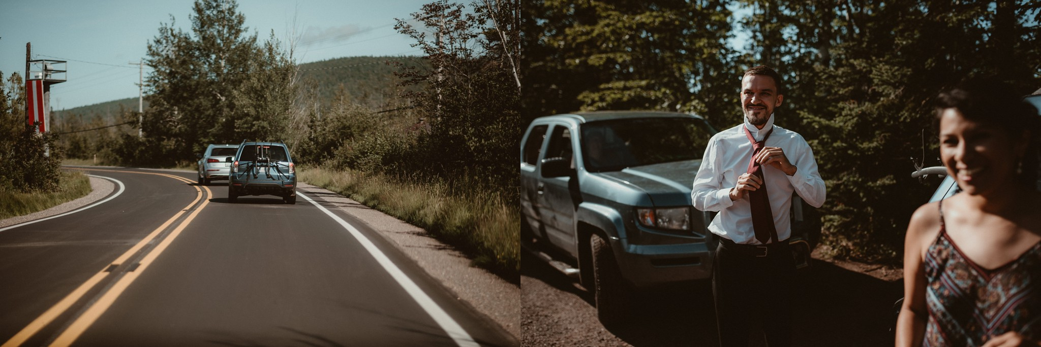 Driving to an elopement in Copper Harbor, Michigan