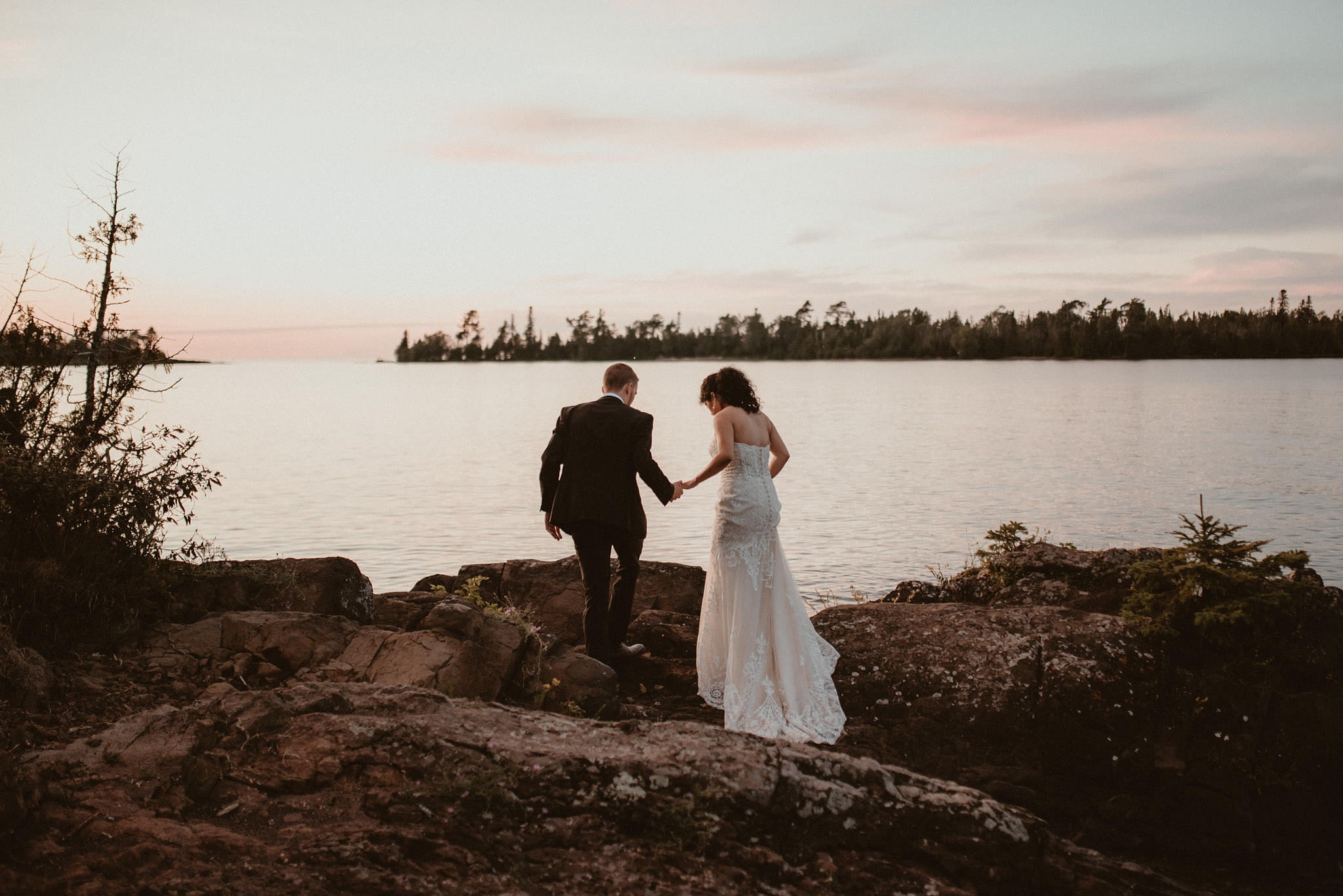 Bride and groom portraits on Lake Superior