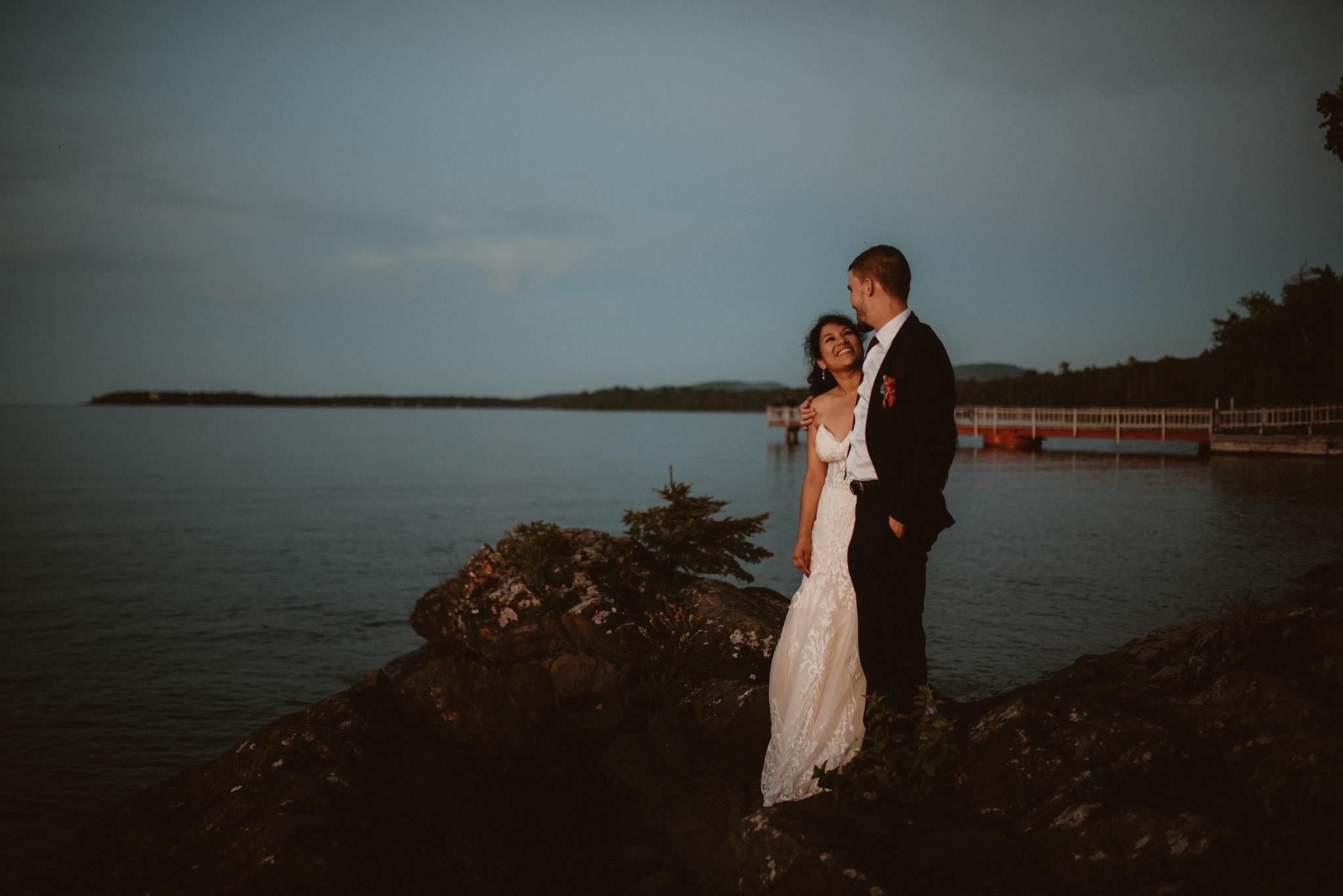 Bride and groom portraits in Copper Harbor, Michigan