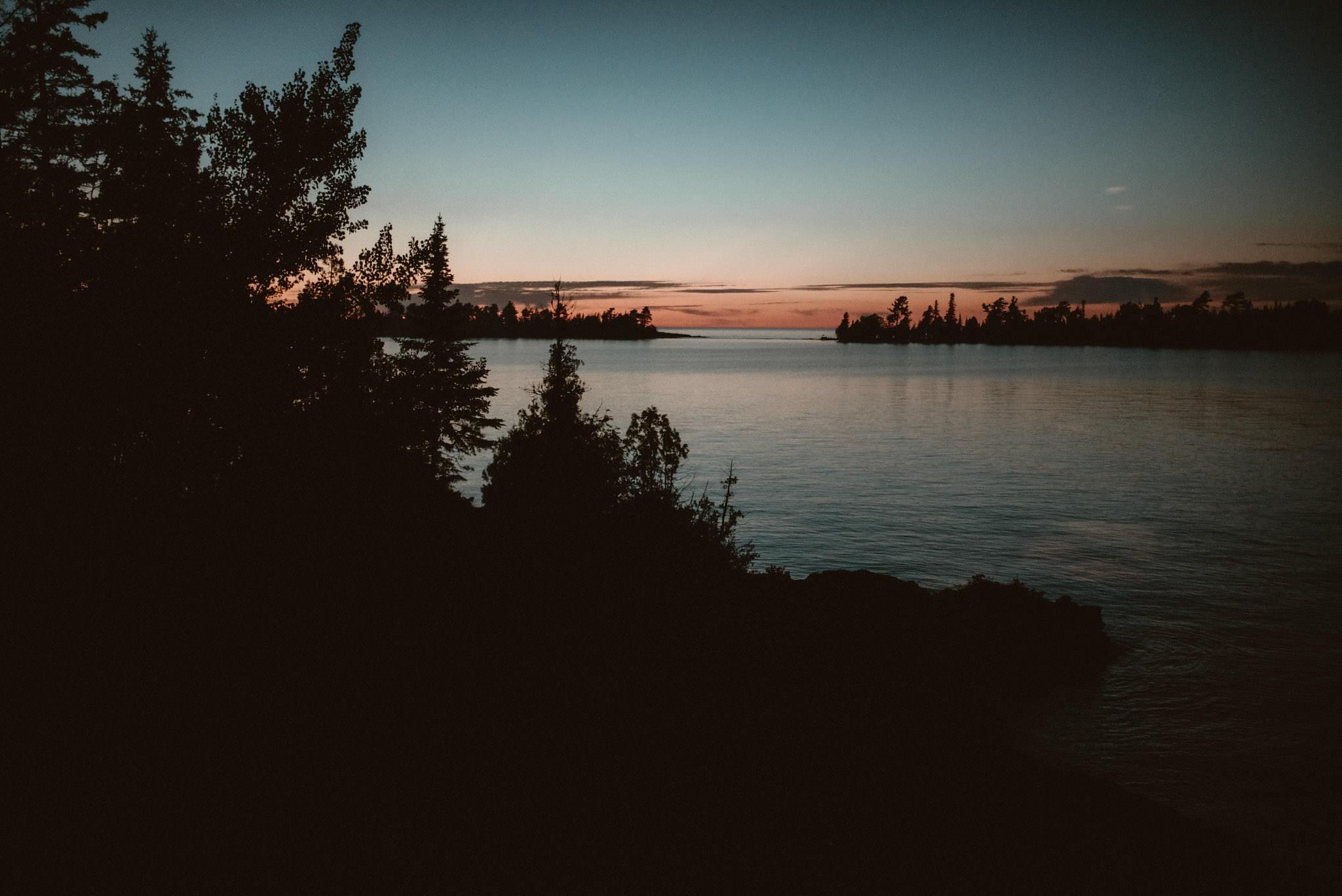 Copper Harbor Michigan at dusk