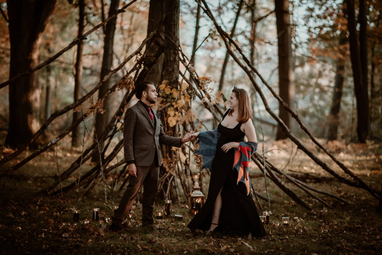 Michigan elopement couple portrait in the woods.