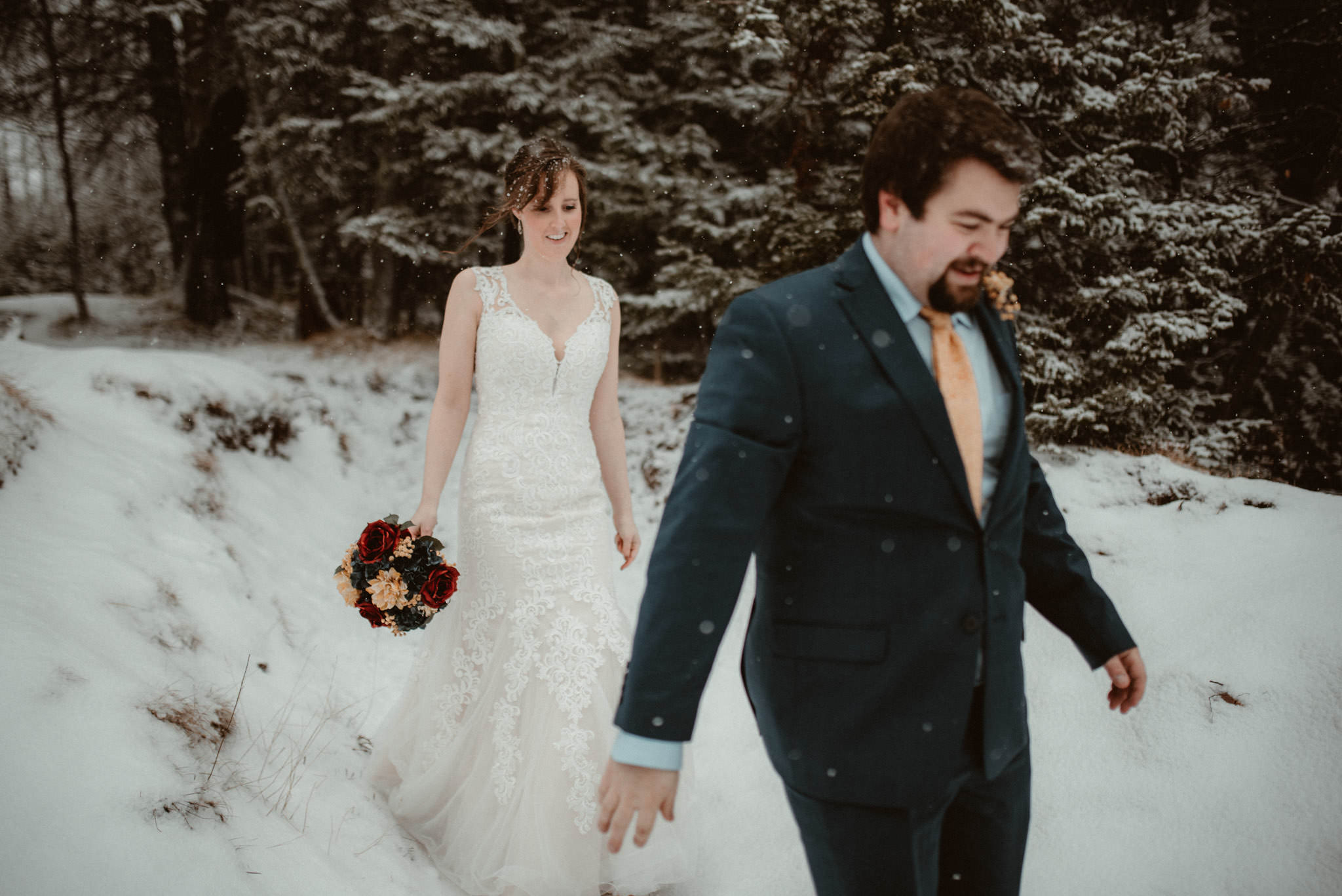 Winter elopement in Marquette, Michigan