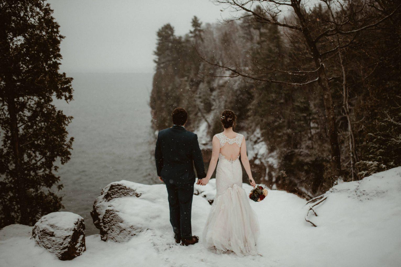 Winter elopement on Presque Isle in Marquette, Michigan