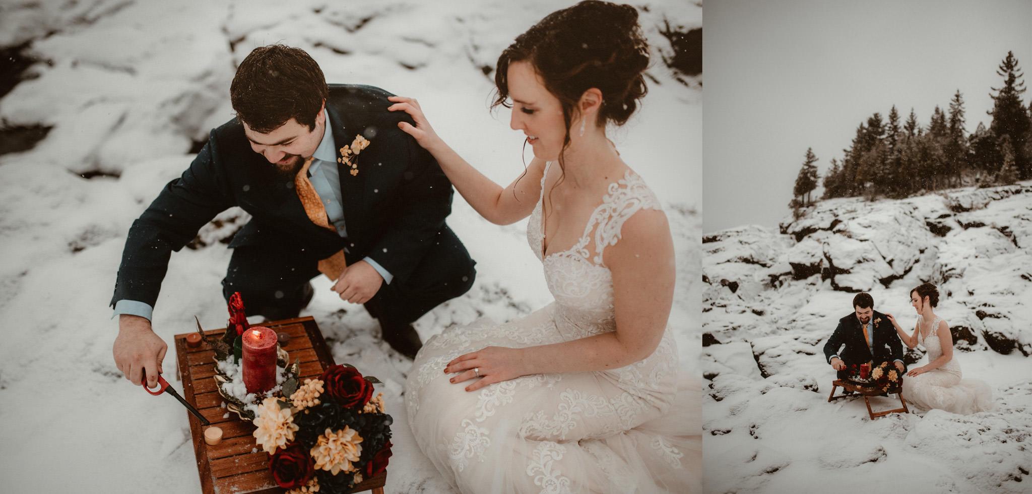 Yule altar setup at winter elopement in Michigan