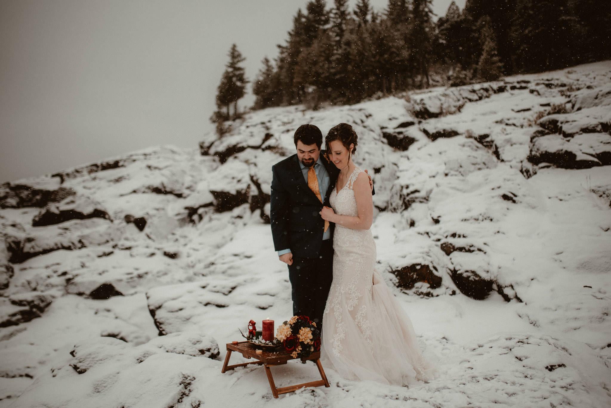 Yule altar at winter elopement in Michigan