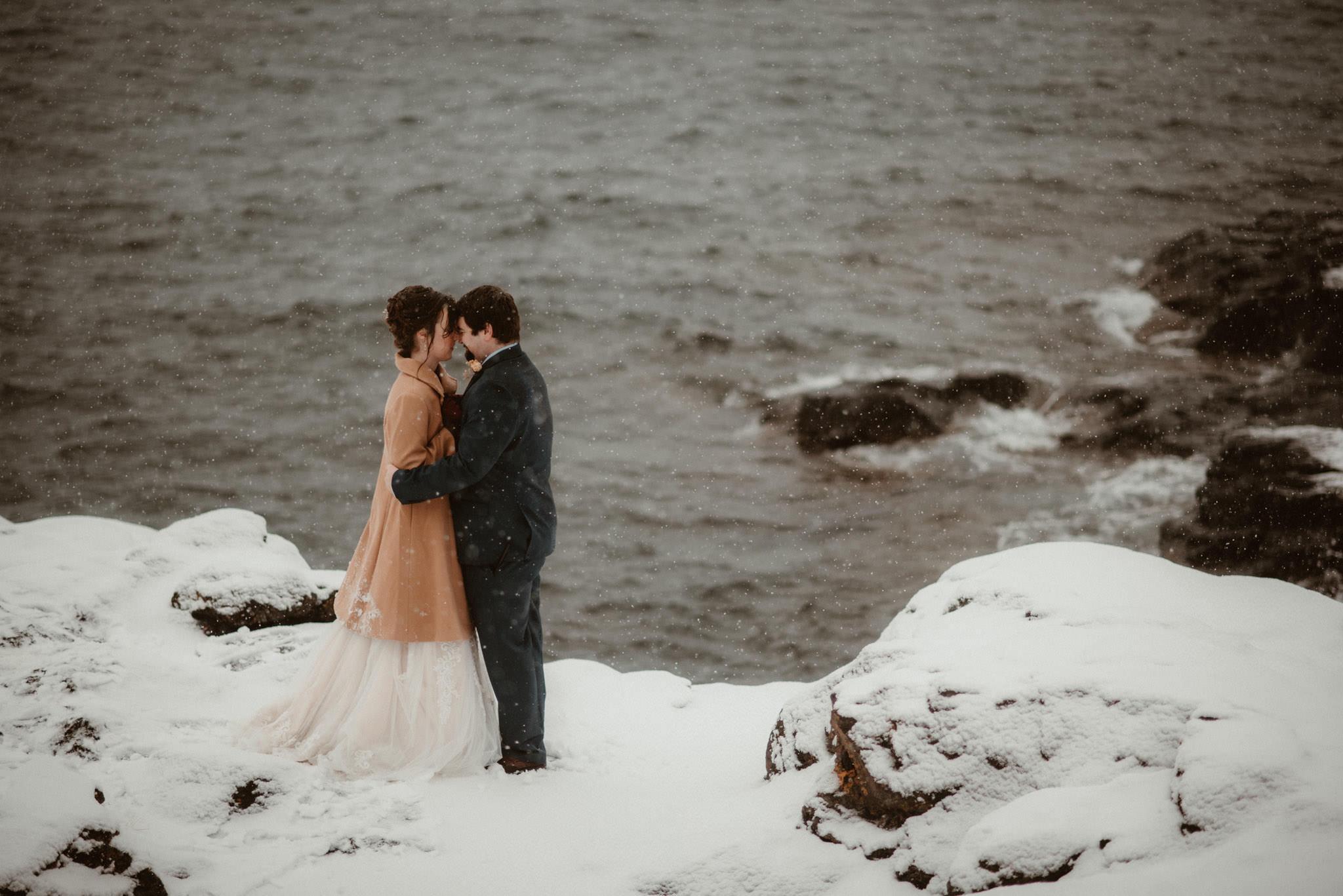 Elopement in winter on Lake Superior, Marquette, Michigan