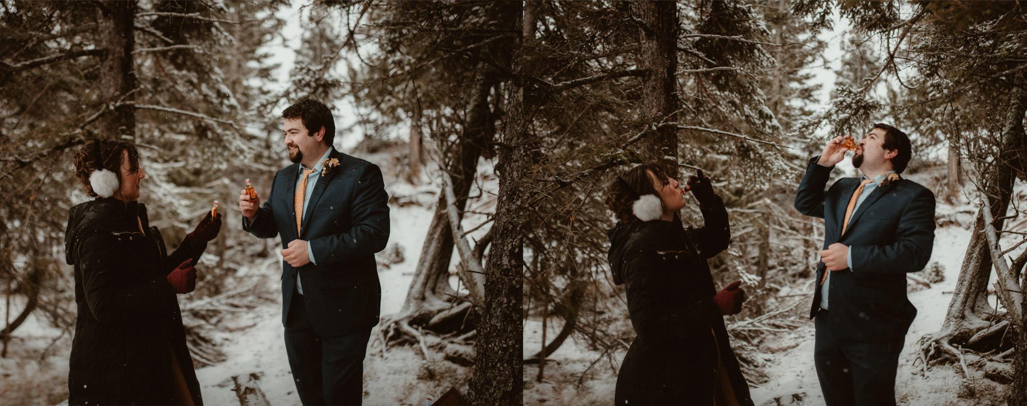 Drinking Fireball at winter elopement in Michigan