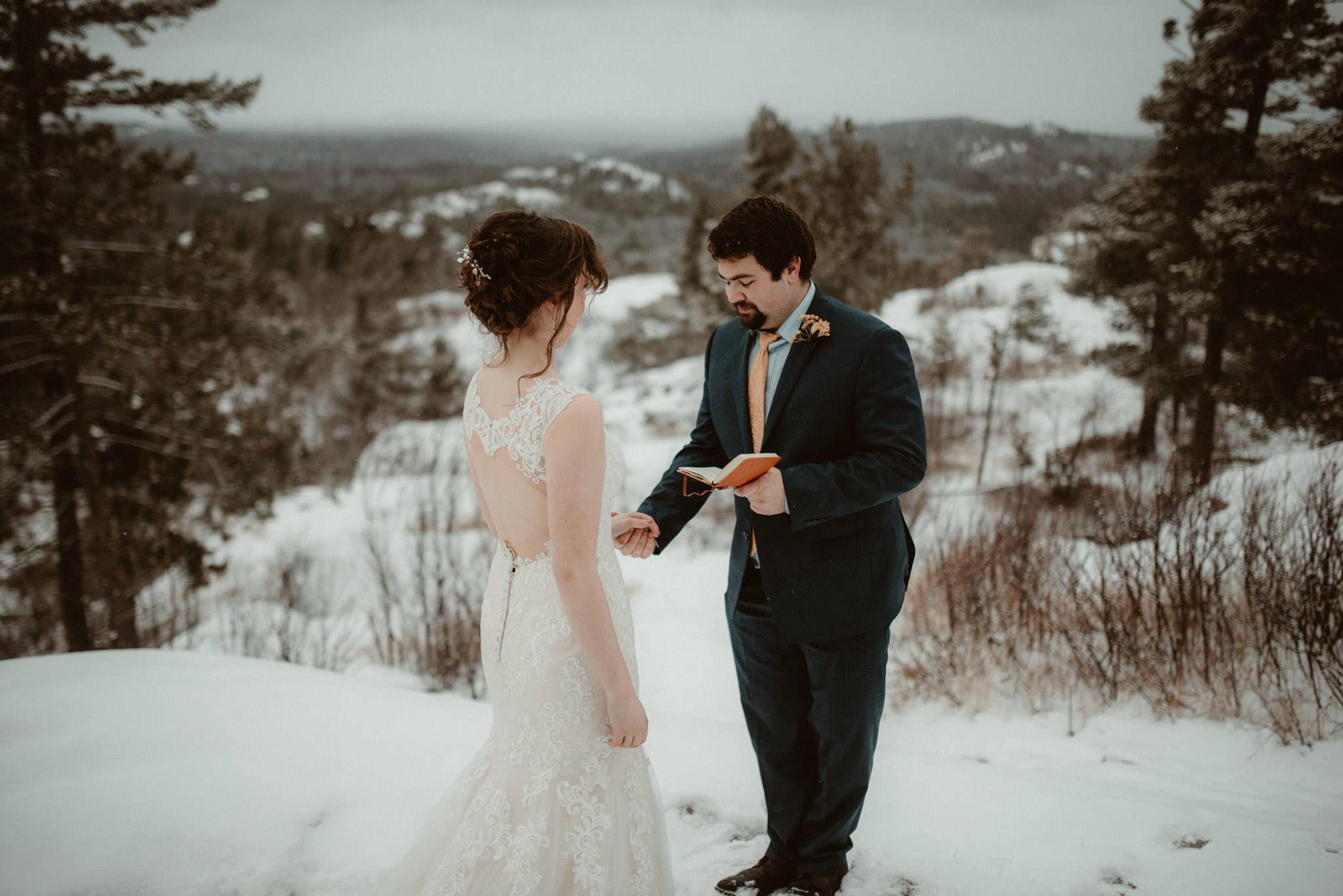 Winter elopement on Sugarloaf Mountain in Marquette, MI