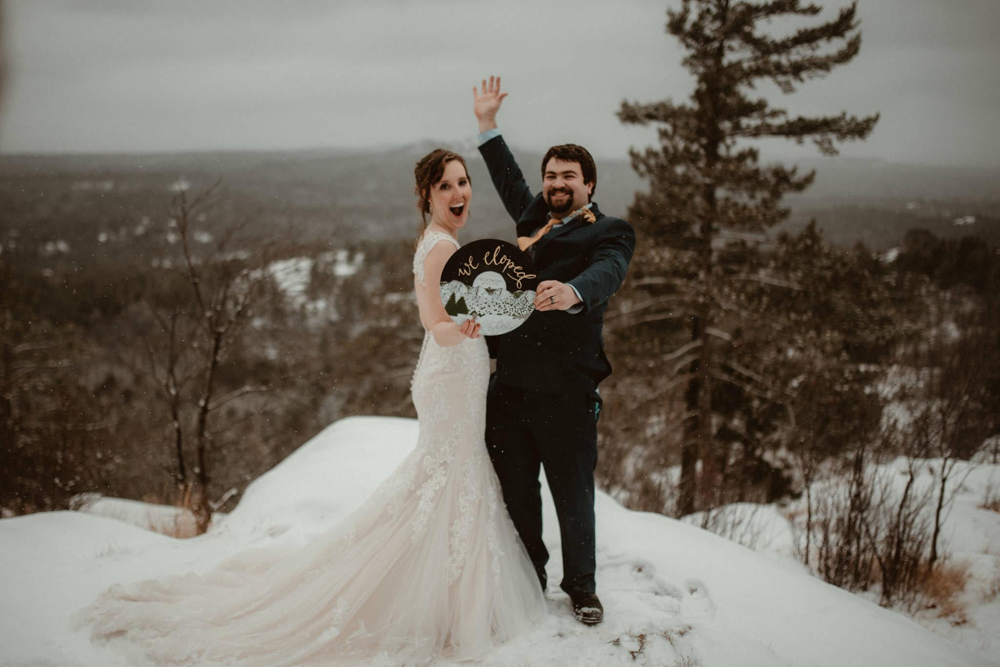 """we eloped"" photos in winter"