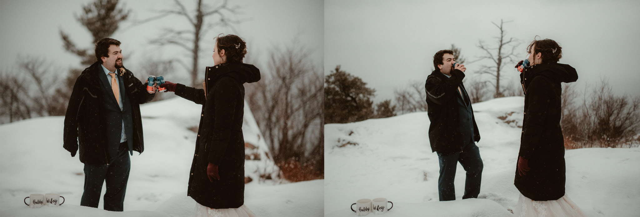 Elopement on Sugarloaf Mounain in Michigan in the snow