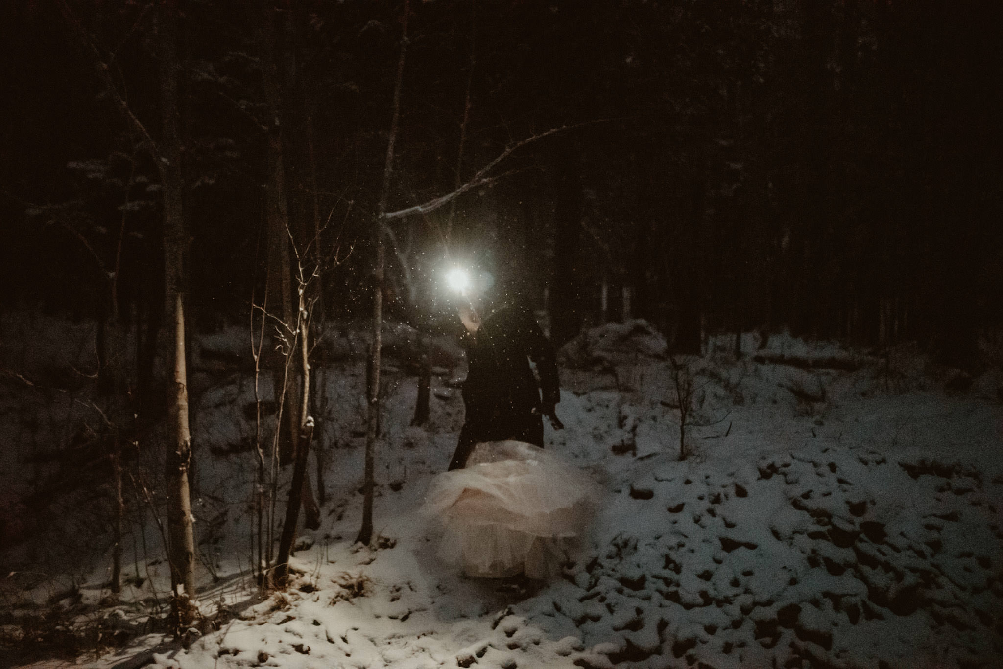 Hiking down Sugarloaf at night with the bride and groom