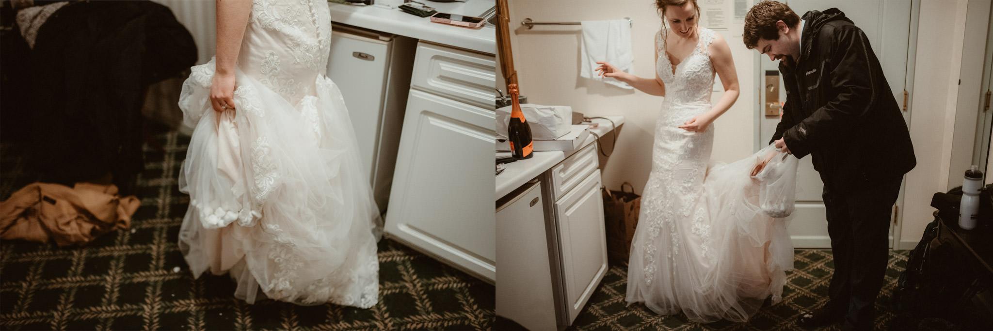 Bride has snowballs in her dress