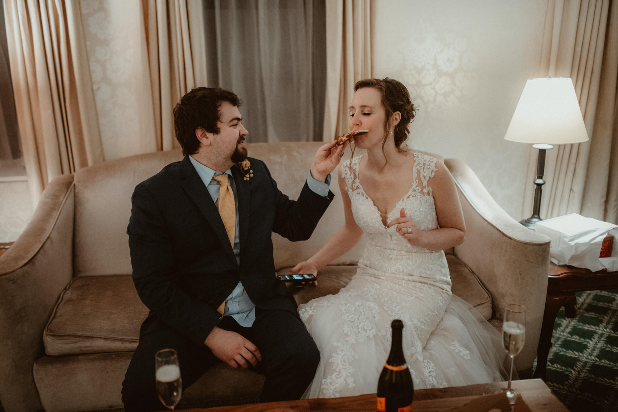 Wine and pizza with the bride and groom at the Landmark Inn