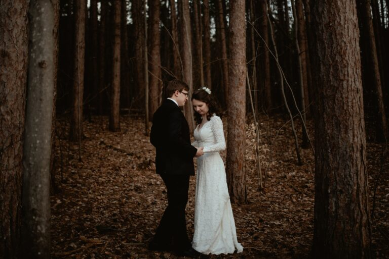 Intimate Elopement in the Pines at Proud Lake State Park
