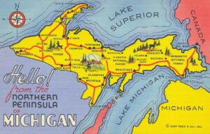 Vintage map of Michigan's Upper Peninsula